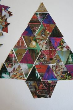 magazine images laid out in a Patchwork Christmas Tree design