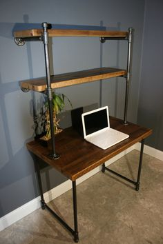 Reclaimed Urban Wood Computer Desk w/ built in shelving unit - Shelves Attatch to the wall - Gas pipe Leg base - Free Shipping!