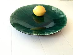 Placa placa Fruitplate rayas verde por monalisapottery en Etsy