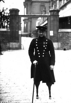Jean-Marie Caujolle, one of the first French soldiers to be wounded during World War One, when both his legs were blown off by a shell at Champagne, 1915