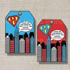 SUPERHERO Favor Tags - Pop Art - INSPIRED - Invitation - Comic Book - Invite - Birthday - Style A. $6.00, via Etsy.