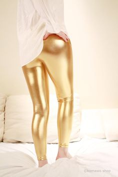 METALLIC GOLD LEGGINGS Wet Look Skin Tight Leggings / by KOMAWO