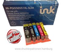 SET PGI-550BK/CLI-551XL ® 5x Kompatible Canon Tintenpatronen mit Chip. 5er Pack nur 19,90€. Qualität zum Superpreis