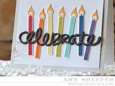 Pins & Needles Challenge: Machine Stitched - Celebrate Card by Amy Sheffer for Papertrey Ink (August 2015)
