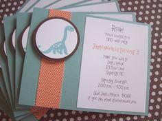 Dinosaur Invitations, Dinosaur Birthday Invitations, Prehistoric Birthday - Set of 8. $16.00, via Etsy.