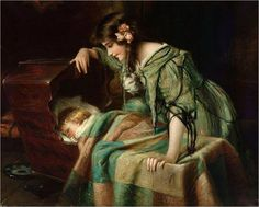 """""""Mother's Lullaby"""" (detail) by Harry Herman Roseland Moose Pictures, Green Gown, Z Arts, Enchanted Garden, Historical Costume, Mother And Child, Antique Art, Shades Of Green, Old World"""