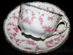 Schumann Original Bridal Rose TEA CUP AND Saucer Heavy Gold Fancy Handle Teacup