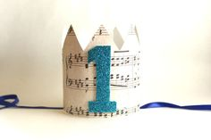First Birthday Crown Birthday Party Hat Music Paper by AnnieEms