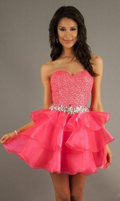 Neon Pink Party Dress by Mac Duggal Prom Dresses Fast Shipping