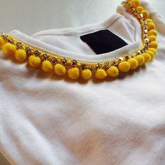 T-shirt by gloriasmoods Pom Pom Shirts, New Style Tops, Fashion Design Sketchbook, Cute Fashion, Womens Fashion, Kurta Neck Design, Old T Shirts, Diy Shirt, Indian Designer Wear