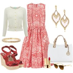 Red Jacquard Print Dress