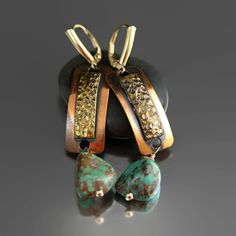 Sold and Relisted!  Turquoise Brass Copper Earrings - Modern Vintage