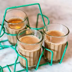 "From Badmaash restaurant, in Los Angeles, this aromatic tea, called ""cutting chai"" in India, is served in small glasses because it's so..."