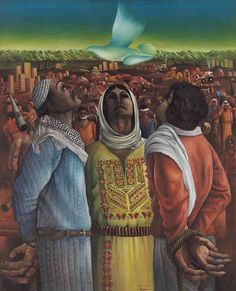"""Perseverance and Hope"" by a Palestinian painter Sliman Mansour (1976)"