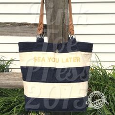 SEA YOU LATER Nautical Tote Bag Jean Paul in Navy by pinktoepress