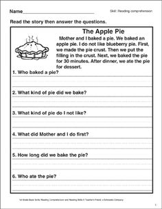 9 Best Images of First Grade Reading Comprehension Worksheets - Grade Reading Comprehension Worksheets, Grade Reading Fluency Passages and Printable Grade Reading Comprehension Worksheets First Grade Reading Comprehension, Reading Comprehension Worksheets, Reading Fluency, Reading Passages, Kindergarten Reading, Comprehension Strategies, Reading Response, Guided Reading Levels, Reading Skills