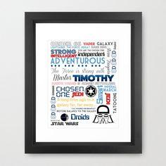 Star Wars Personalized Typography 11x14-Professional Metallic Print - boys room, wall art, child decor, darth vader, stormtrooper, custom. $21.50, via Etsy.
