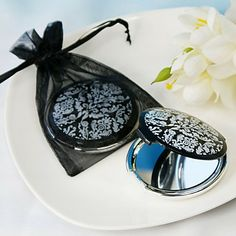 for the bridesmaids  wedding favour  black and white compact mirror
