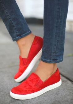 red slim on shoes- Slip on shoes fashion trend http://www.justtrendygirls.com/slip-on-shoes-fashion-trend/
