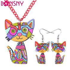 Cat Necklace Earrings Set Jewelry Sets Choker Collar Fashion Jewelry Women Girl Child Acrylic Statement