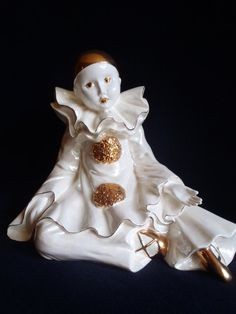 Vintage Pierrot  in Ceramic Gold and White by Dupasseaupresent