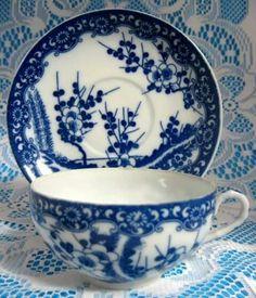 Japanese Porcelain, Japanese Pottery, White Porcelain, Blue And White China, Blue China, Tea Cup Saucer, Tea Cups, White Cherry Blossom, Cherry Blossoms