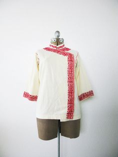 Vintage Paprika Embroidered Linen Tunic