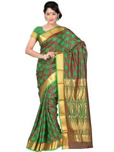 b03fdc0eb6 Green Colored Kanjivaram silk Saree From the House Of Janasya. Its is  Perfect with All