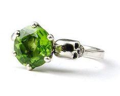 Skull Wedding Ring Goth Engagement Skull Ring by KipkalinkaJewels