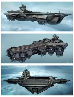 Floating Aircraft Carrier | The Avengers Concept Art by Steve Jung.