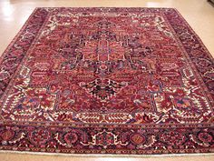 11x13 Persian HERIZ Tribal Hand Knotted Wool BRICK RED NAVY Oriental Rug Carpet #PersianHerizGeometric