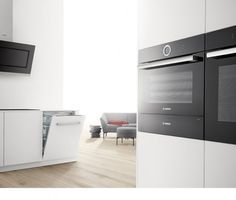 Bosch Serie 8 Oven, Steam Oven, Warming Drawer, Dishwasher & Cooker Hood - Black Glass - Introducing the New Bosch Serie 8 Built-in appliances Bosch Appliances, Kitchen Appliances, Grease, West Facing House, Black Ovens, Cooker Hoods, Filter, Wall Oven, Ovens