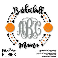 Basketball Mama Monogram Wreath Arrows monogram NOT included