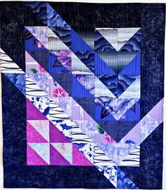 "Spring Rain, 41 x 47"" by Sara Kelly, Sara Kelly Art Quilts: ""The quilting is simple vertical lines enhanced with many clear glass beads for raindrops"""
