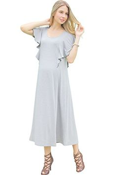 3046ad3afc3de Sweet Mommy Maternity and Nursing OnePiece with Ruffled Sleeves Gray L --  Check this awesome product by going to the link at the image.