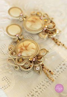 Shabby Chic long soutache earrings, Reje creations 100% handmade in Italy