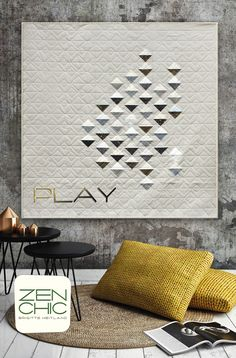 You need only a charm pack of the golden sparkling LUSTER prints. The pattern is easy, even for beginners in this modern and minimalist quilt by ZEN CHIC called PLAY. Download your PDF-pattern.
