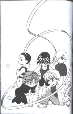 Gundam Wing ~~ I've loved this artwork for a VERY long time. Just which of the others is Trowa really looking at?
