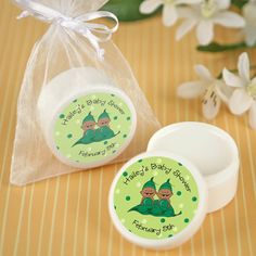 Twins Two Peas in a Pod African American - Personalized Lip Balm Baby Shower Favors  $1.89