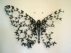 Beer Can Butterflies Paul Villinski crafts elaborate installations depicting flocks of butterflies in motion. All with recycled and repurposed materials; his butterflies use aluminum cans. Paul Villinski Beer Can Butterflies DIY Upcycling Cans Art Papillon, Paper Art, Paper Crafts, Diy Paper, Tissue Paper, Beste Tattoo, Kirigami, Art Plastique, Tattoo Inspiration