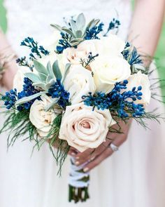 One of the hot new styles is the contemporary orange and blue wedding. And one of the highlights of a wedding is a bouquet of flowers. Interesting indeed speaks bouquet. Summer Wedding Bouquets, Blue Wedding Flowers, Bride Bouquets, Floral Wedding, Fall Wedding, Wedding Colors, Dream Wedding, Wedding Ideas, Burgundy Wedding