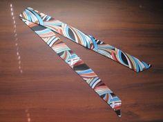 Blue Striped Silk Twilly Scarf Bag Tie Scarf  Rope by SummerMatcha