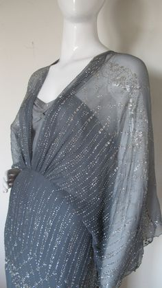 1970s Gina Fratini Ombre Silk Glitter Gown with Train 7