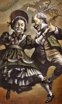 Mrs.and Mr.Fezziwig in 'A Christmas Carol' illustrated by Canadian artist Mark Summers.