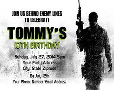 8 pk call of duty iii 3 black ops birthday party invitations w image result for call of duty birthday card printable filmwisefo