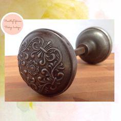 Vintage Door Knob Pair Ornate Floral Steel / by PucaByElphiena