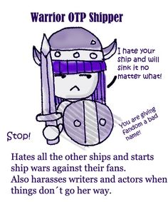 warrior otp shipper . . .I will admit, there are some ships that are not meant to be.