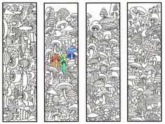 Coloring Bookmarks  Mushroom page for adults and by CandyHippieColoring pages colouring adult detailed advanced printable Kleuren voor volwassenen coloriage pour adulte anti-stress kleurplaat voor volwassenen