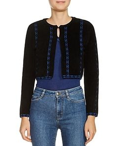 MAJE MATHILDA CROPPED CARDIGAN. #maje #cloth # Cardigans For Women, Undone Look, Cropped Cardigan, Maje, Parisian, Leather Skirt, Crop Tops, Sweaters, Sweater