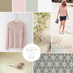 Mood Board for Ellie Harvey Jewellery Design. Inspiration board for the branding of jewelry shop online business, soft muted colours of pastel pink and blue, script and serif fonts and typography, feminine and pretty brand design, social media branding and printed materials and packaging.